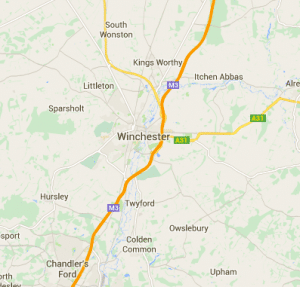 map of driving lessons winchester